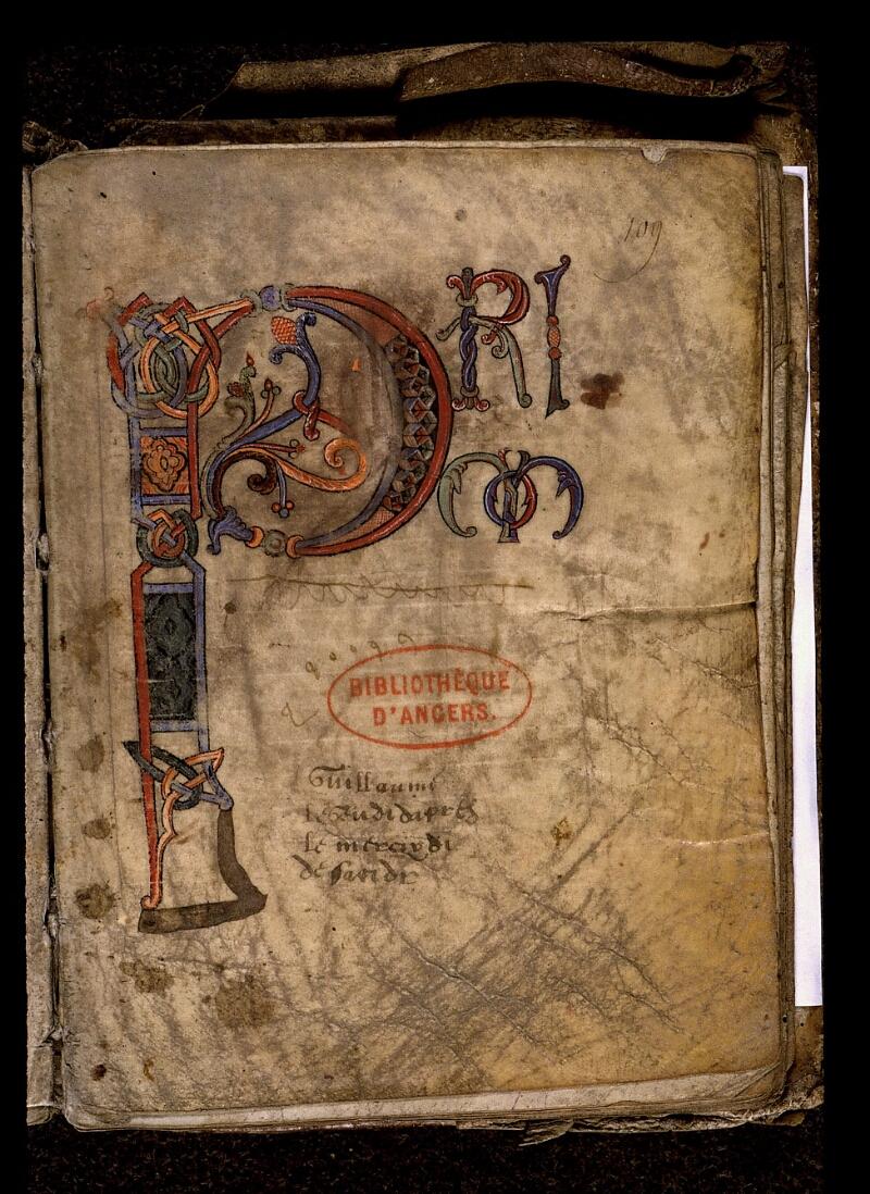 Angers, Bibl. mun., ms. 0019, f. 109 - vue 2
