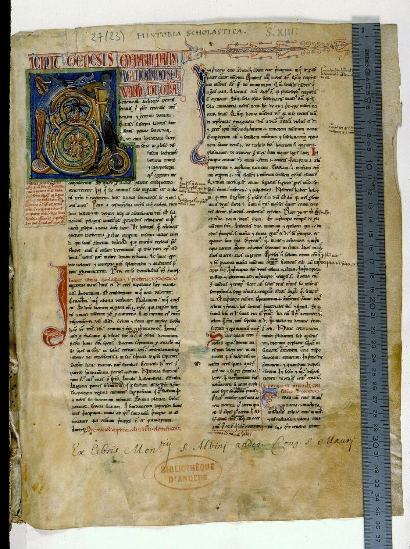 Angers, Bibl. mun., ms. 0027, f. 001 - vue 1