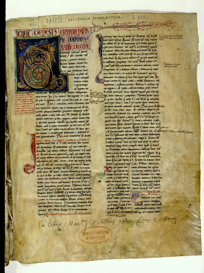 Angers, Bibl. mun., ms. 0027, f. 001 - vue 2