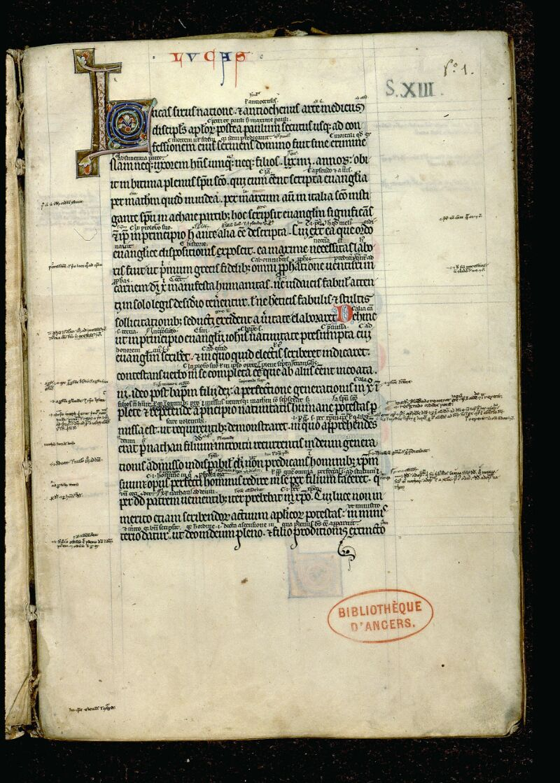 Angers, Bibl. mun., ms. 0062, f. 001 - vue 2