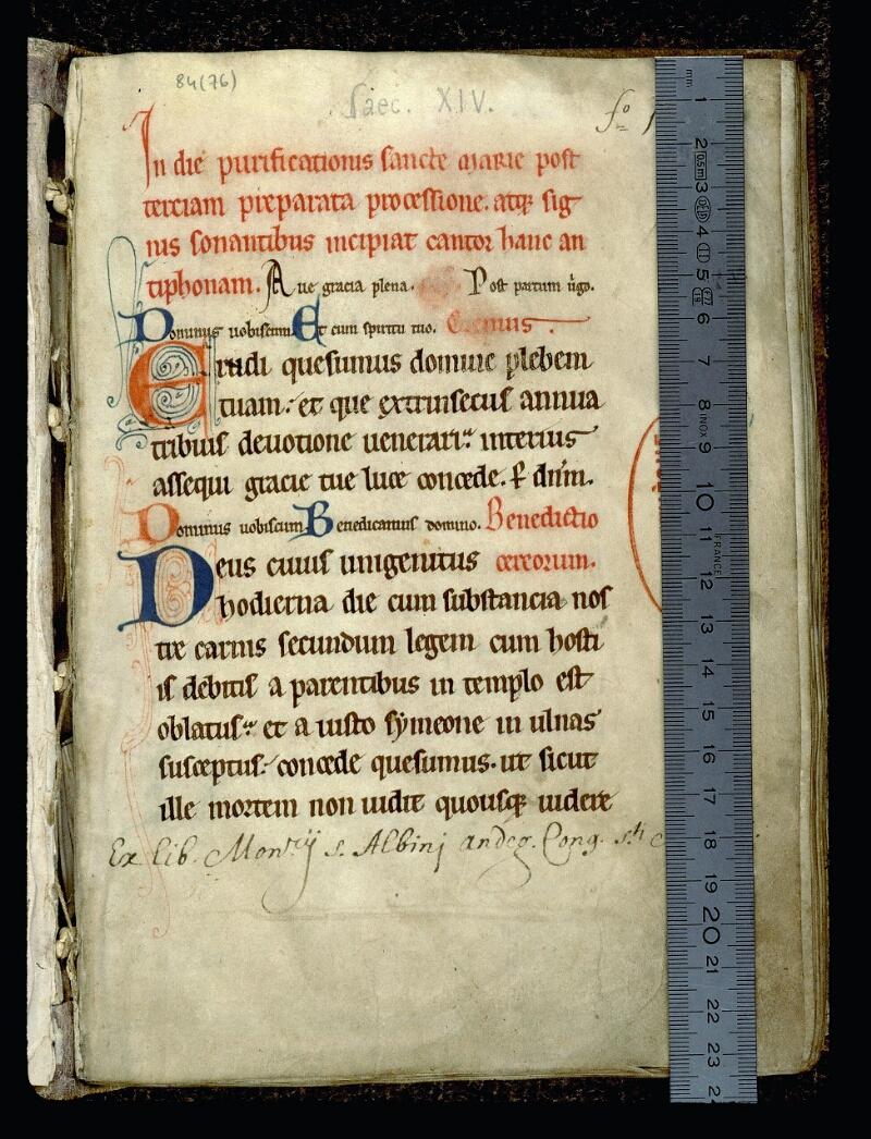Angers, Bibl. mun., ms. 0084, f. 001 - vue 1