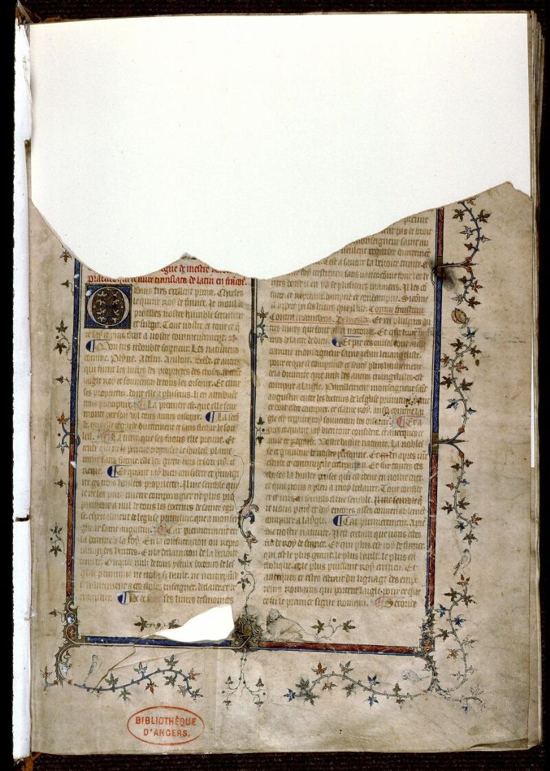 Angers, Bibl. mun., ms. 0162, f. 001 - vue 1