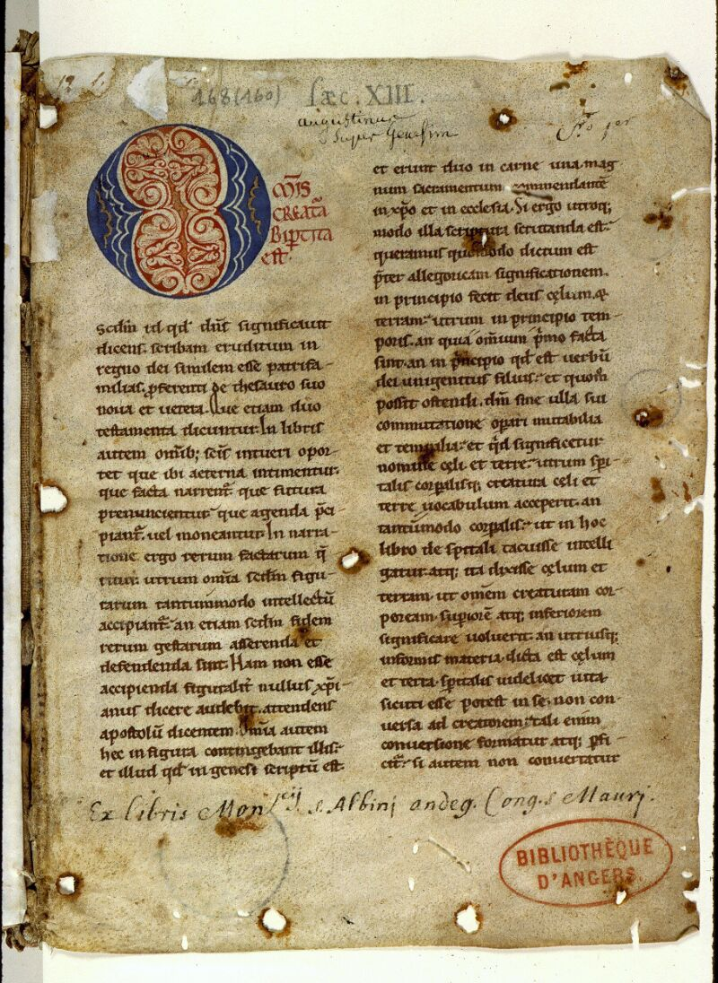 Angers, Bibl. mun., ms. 0168, f. 001 - vue 2
