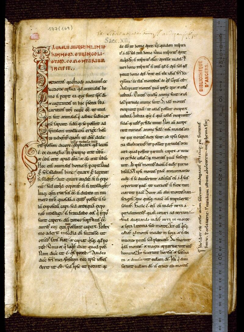 Angers, Bibl. mun., ms. 0177, f. 001 - vue 1