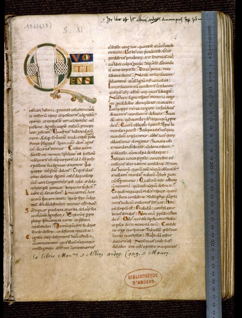 Angers, Bibl. mun., ms. 0186, f. 002 - vue 1