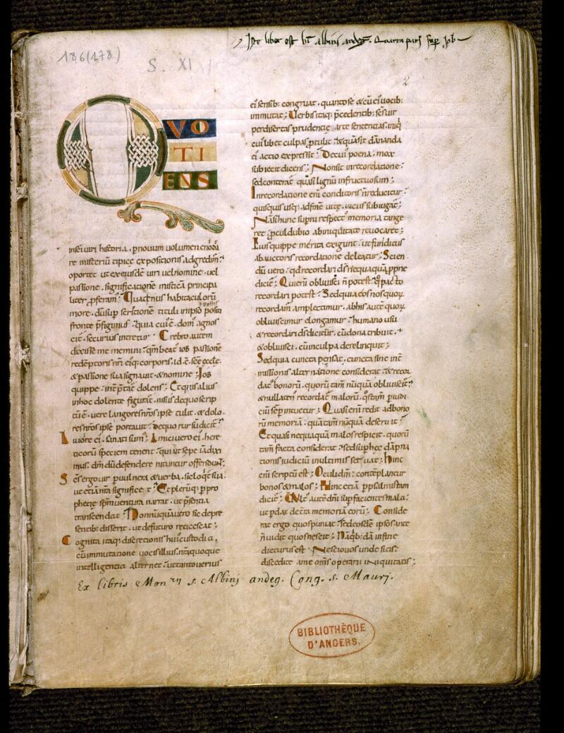 Angers, Bibl. mun., ms. 0186, f. 002 - vue 2