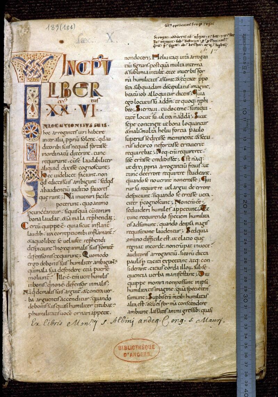 Angers, Bibl. mun., ms. 0189, f. 001 - vue 1