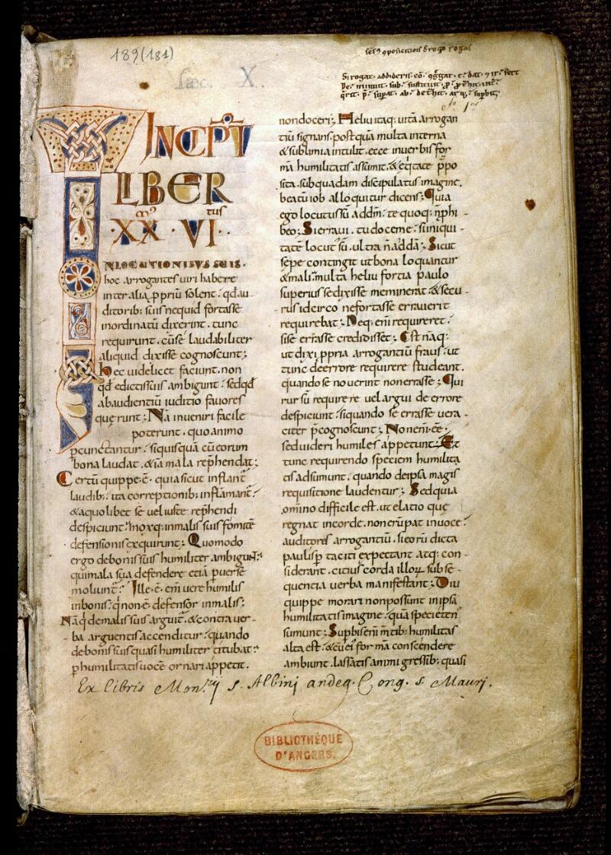 Angers, Bibl. mun., ms. 0189, f. 001 - vue 2