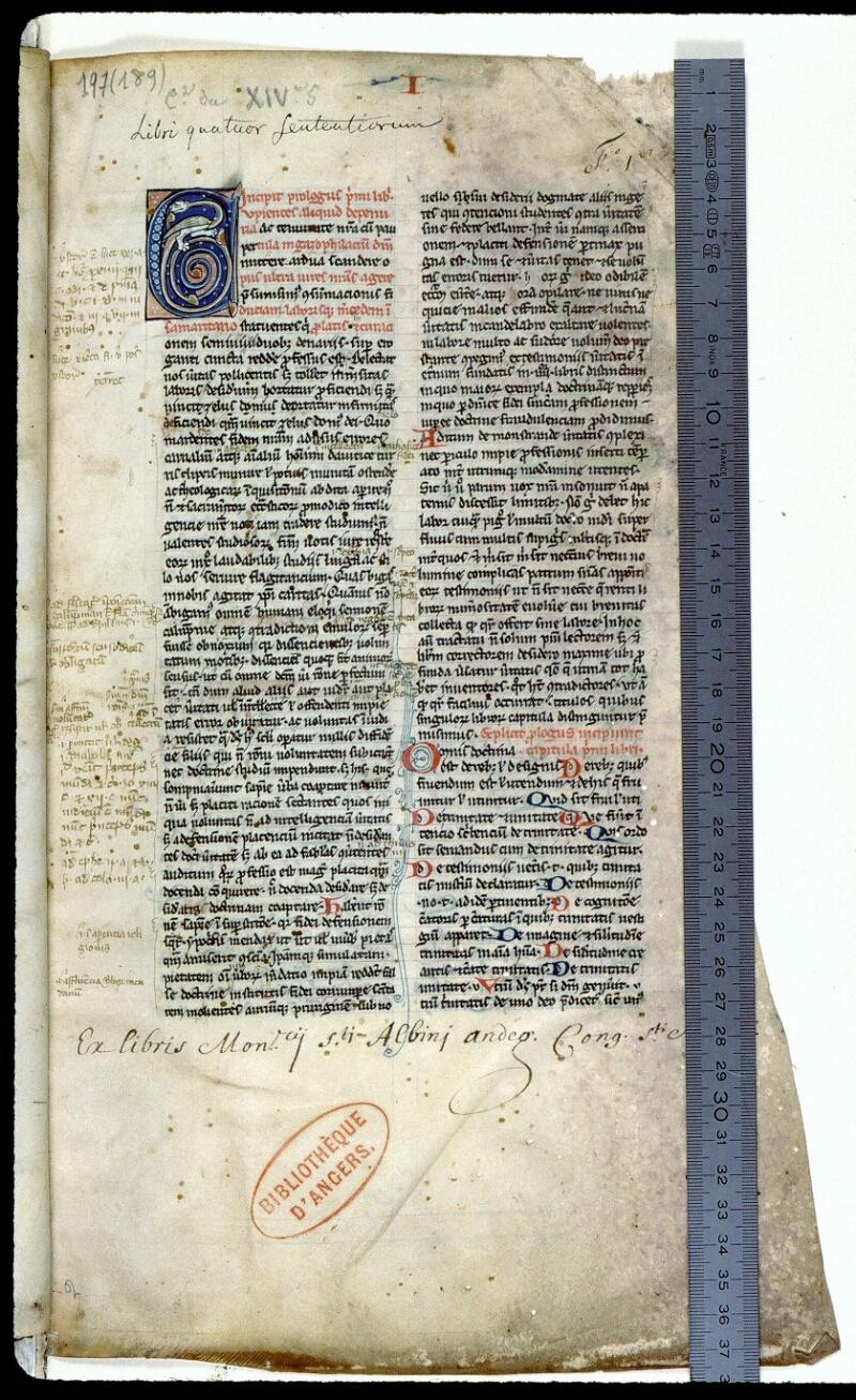 Angers, Bibl. mun., ms. 0197, f. 001 - vue 1