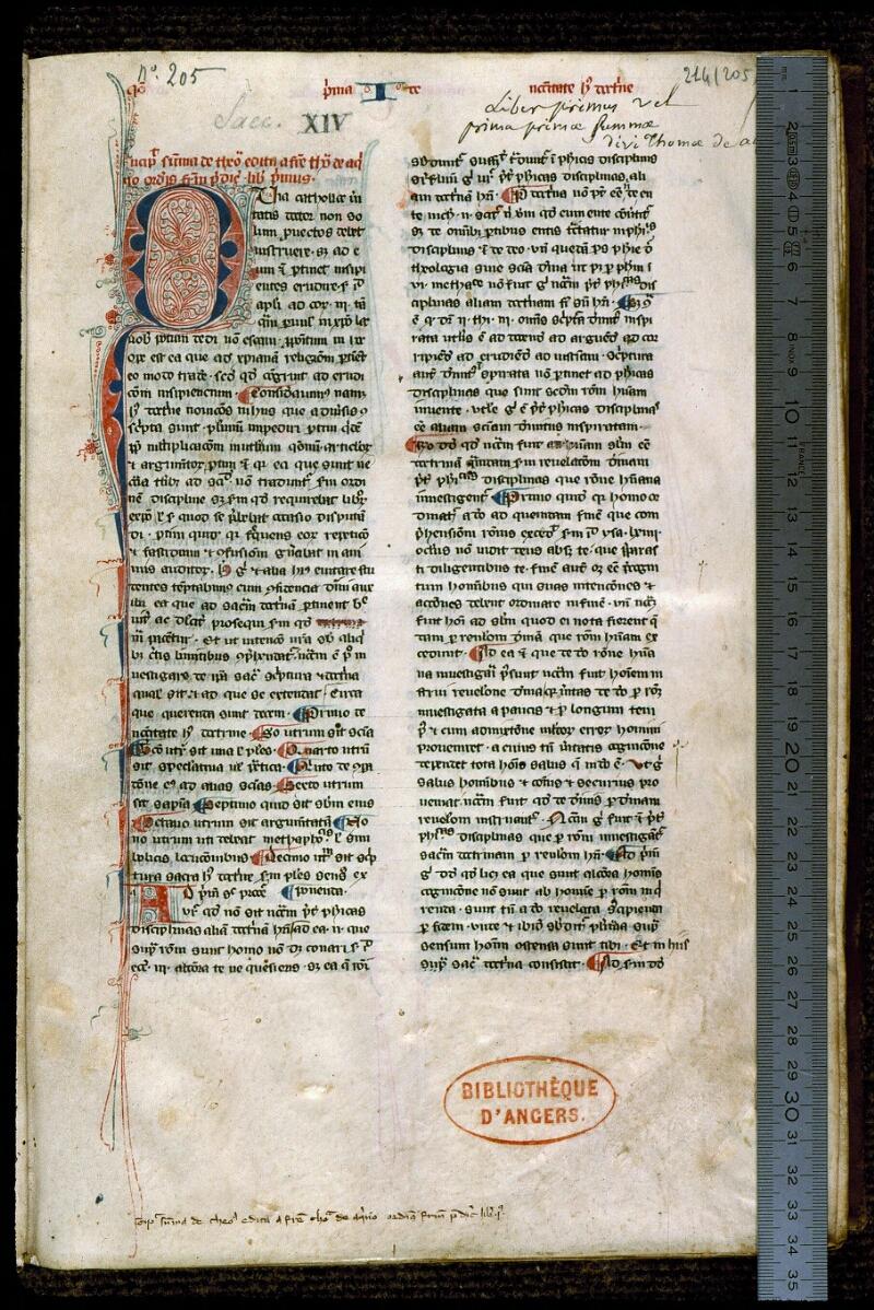 Angers, Bibl. mun., ms. 0214, f. 001 - vue 1