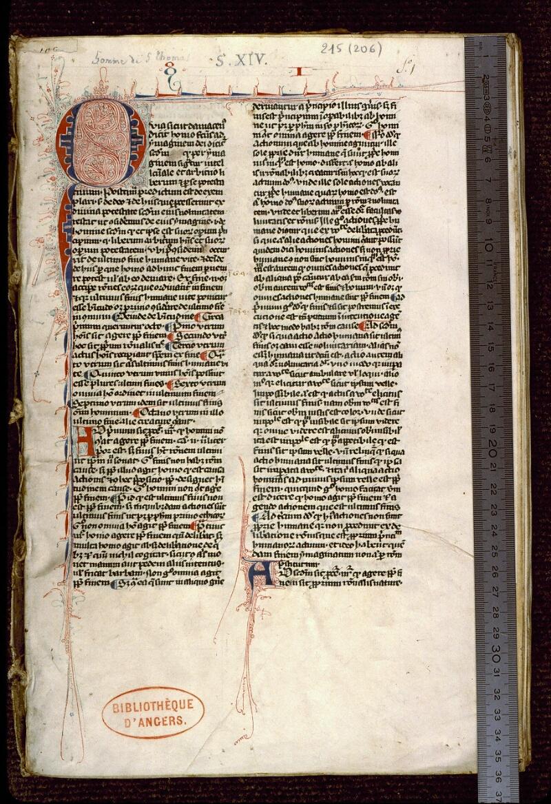 Angers, Bibl. mun., ms. 0215, f. 001 - vue 1