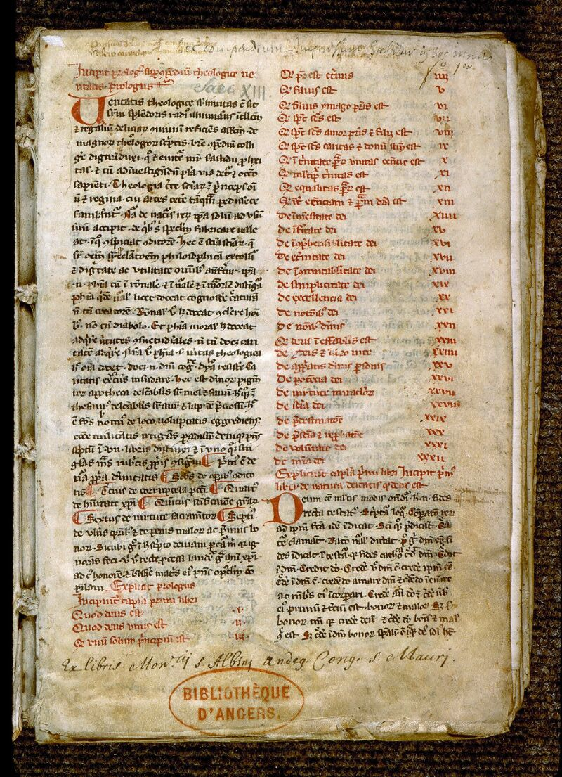 Angers, Bibl. mun., ms. 0224, f. 001 - vue 2