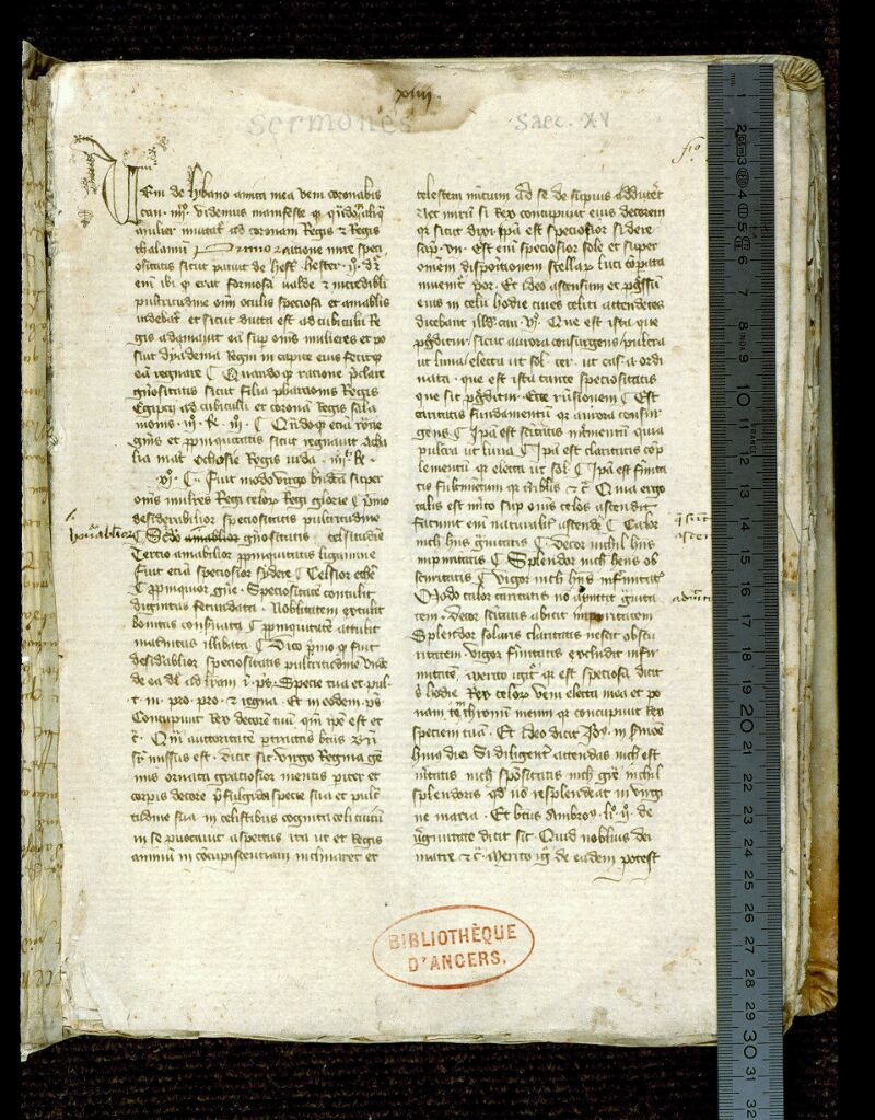 Angers, Bibl. mun., ms. 0254, f. 001 - vue 1