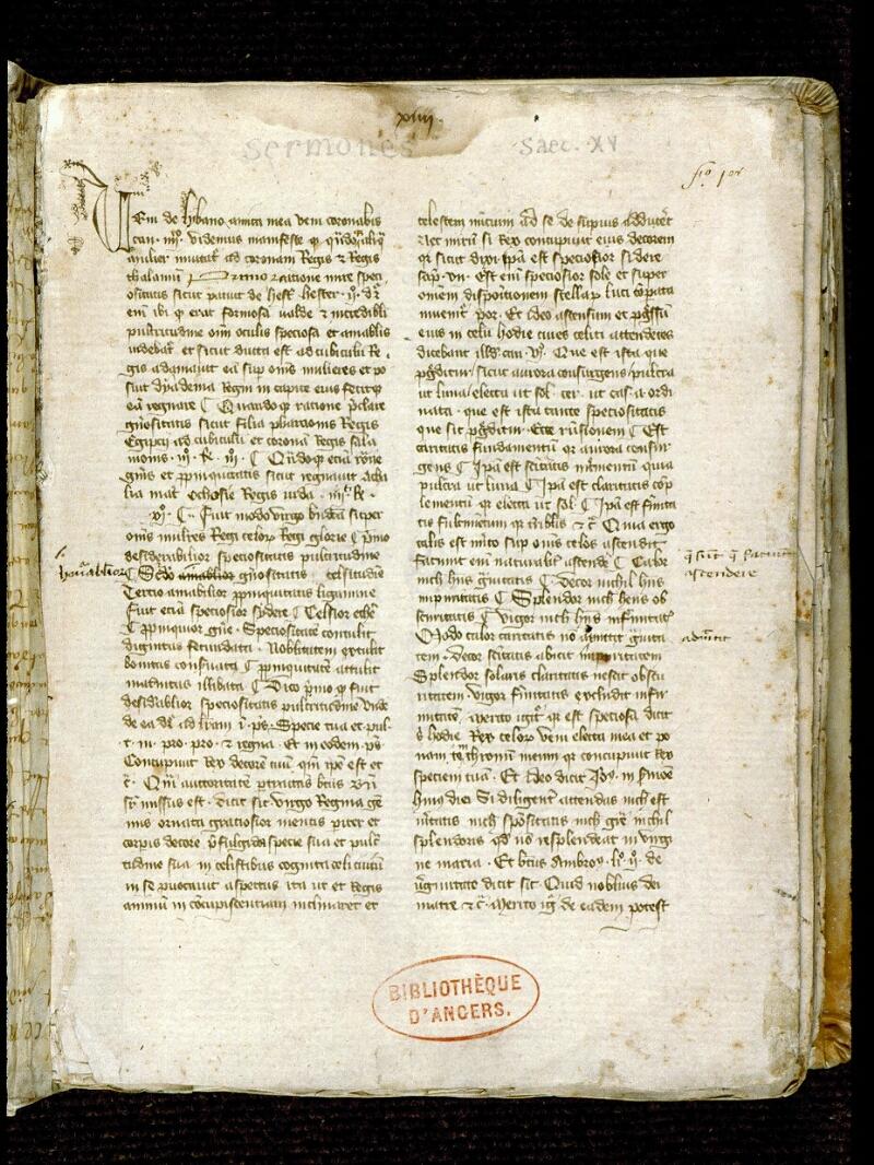 Angers, Bibl. mun., ms. 0254, f. 001 - vue 2