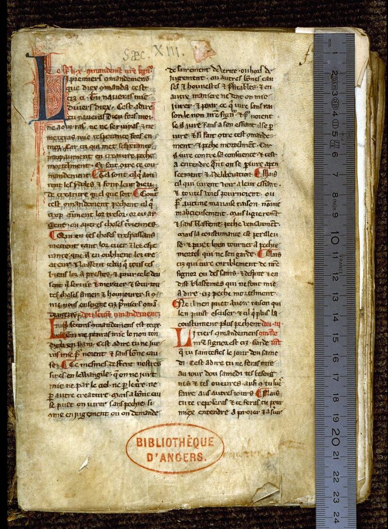Angers, Bibl. mun., ms. 0264, f. 001 - vue 1