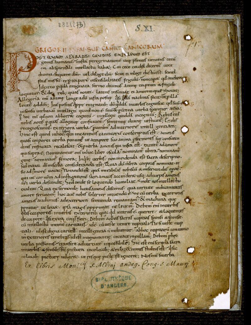 Angers, Bibl. mun., ms. 0282, f. 001 - vue 2