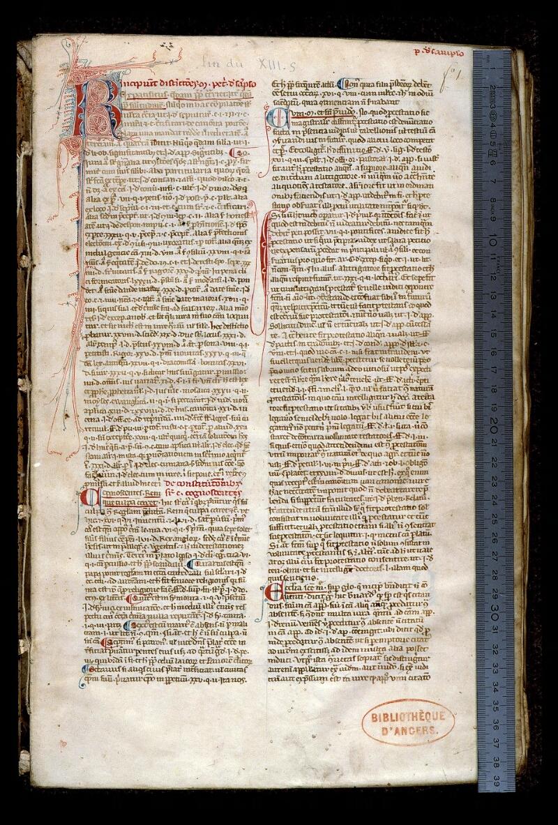 Angers, Bibl. mun., ms. 0381, f. 001 - vue 1