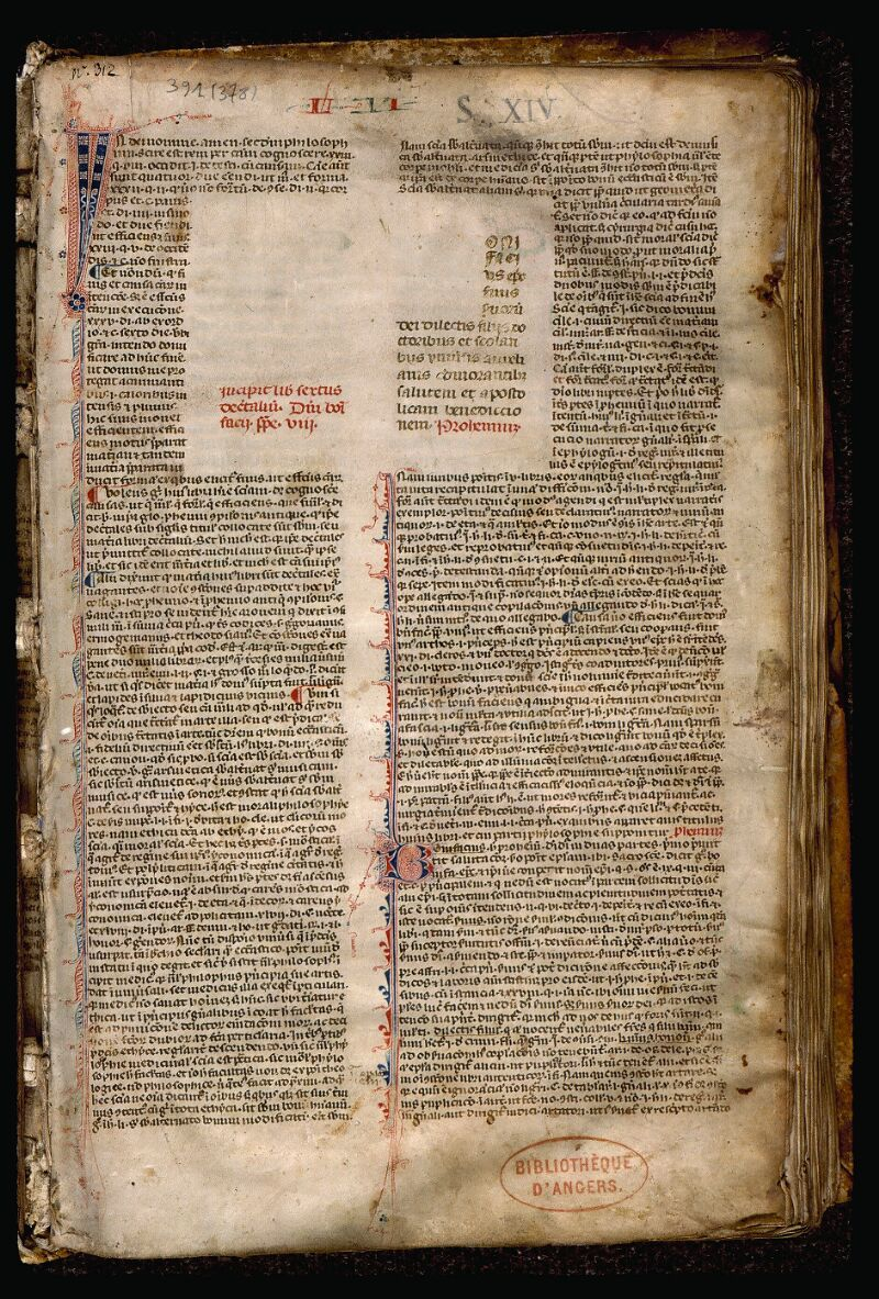 Angers, Bibl. mun., ms. 0391, f. 001 - vue 2