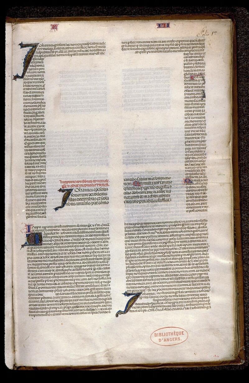 Angers, Bibl. mun., ms. 0392, f. 001 - vue 2