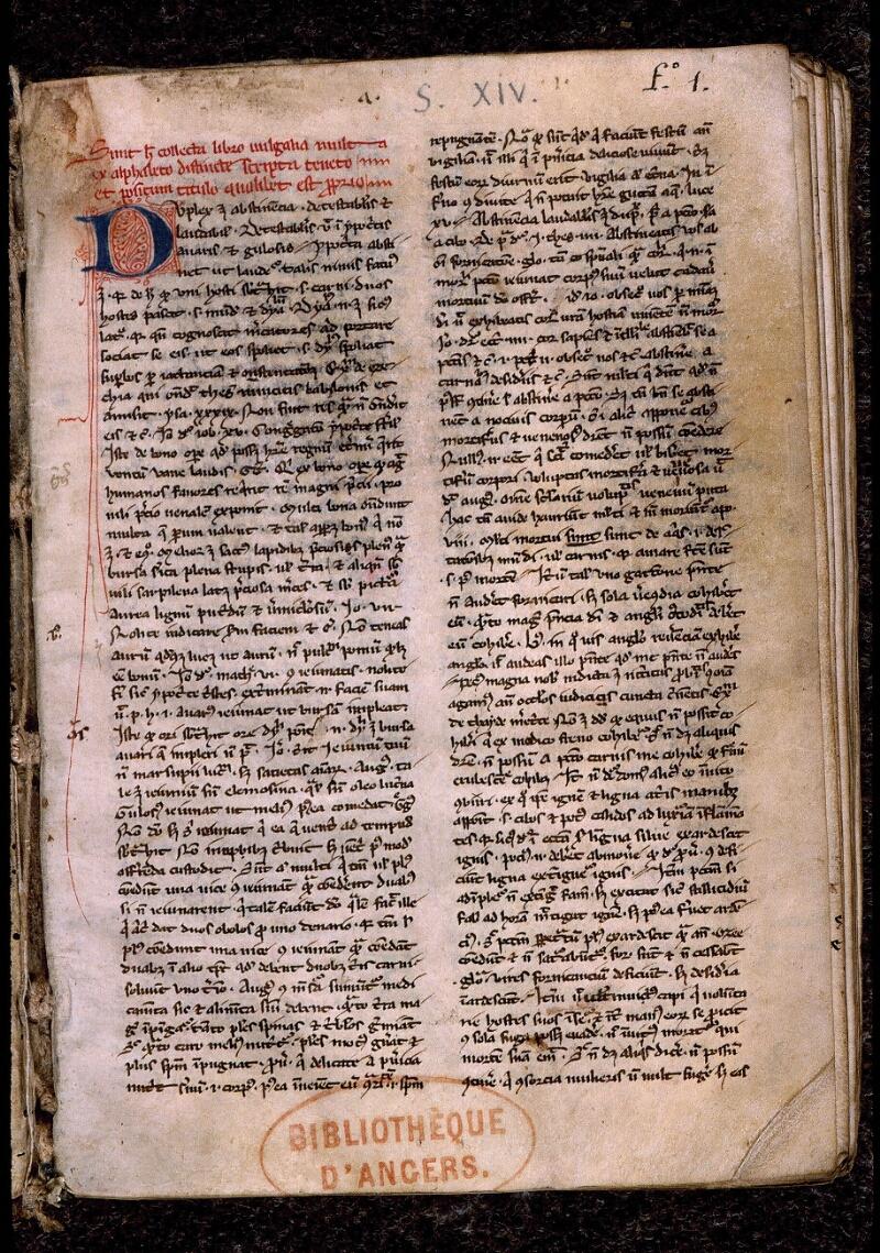 Angers, Bibl. mun., ms. 0419, f. 001 - vue 2