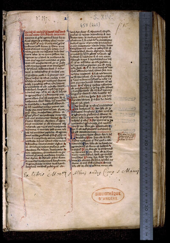 Angers, Bibl. mun., ms. 0458, f. 001 - vue 1