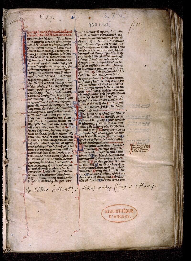 Angers, Bibl. mun., ms. 0458, f. 001 - vue 2