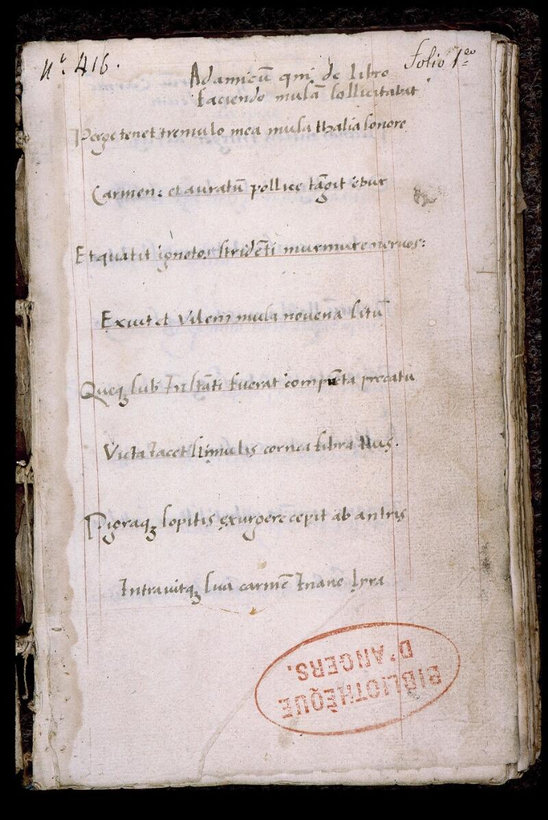 Angers, Bibl. mun., ms. 0547, f. 001 - vue 2