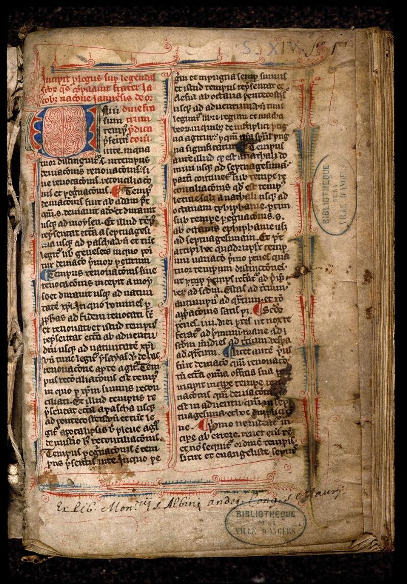 Angers, Bibl. mun., ms. 0809, f. 001 - vue 2
