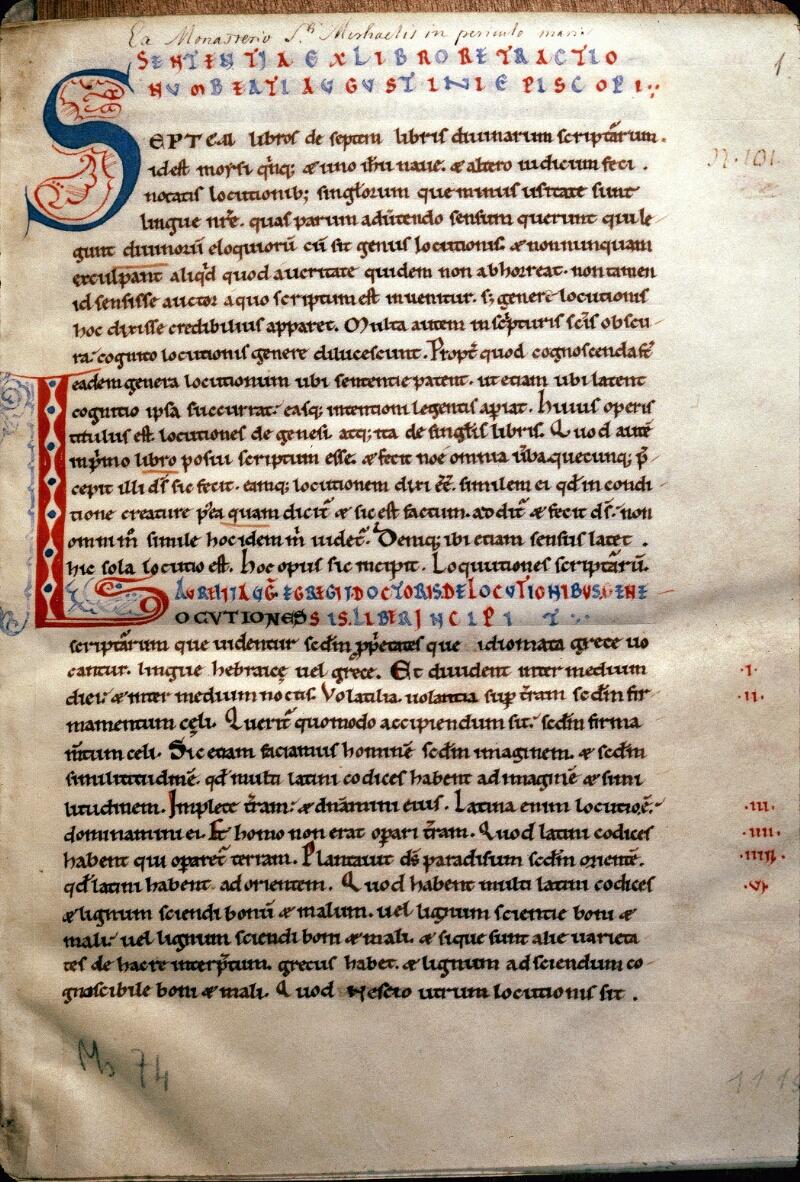 Avranches, Bibl. mun., ms. 0074, f. 001