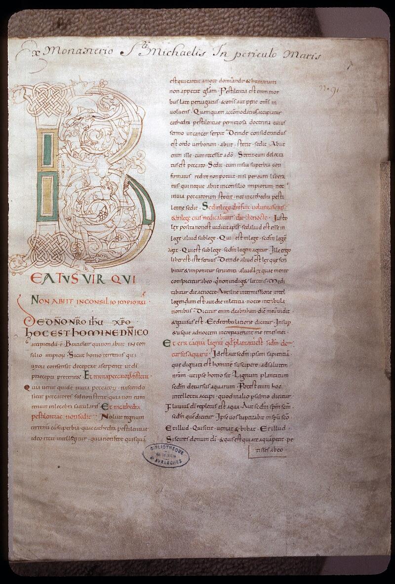Avranches, Bibl. mun., ms. 0076, f. 001 - vue 1