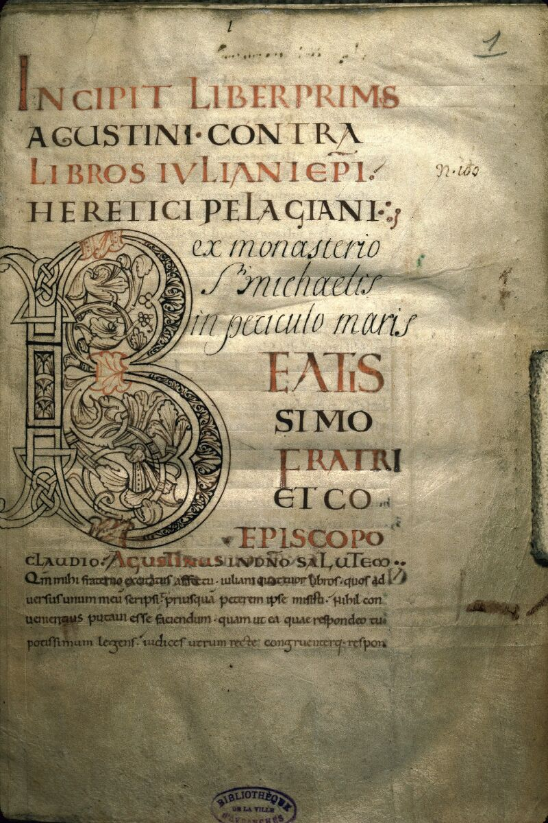 Avranches, Bibl. mun., ms. 0091, f. 001