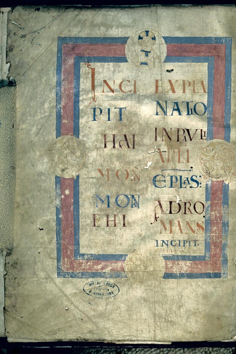 Avranches, Bibl. mun., ms. 0115, f. 001v - vue 1