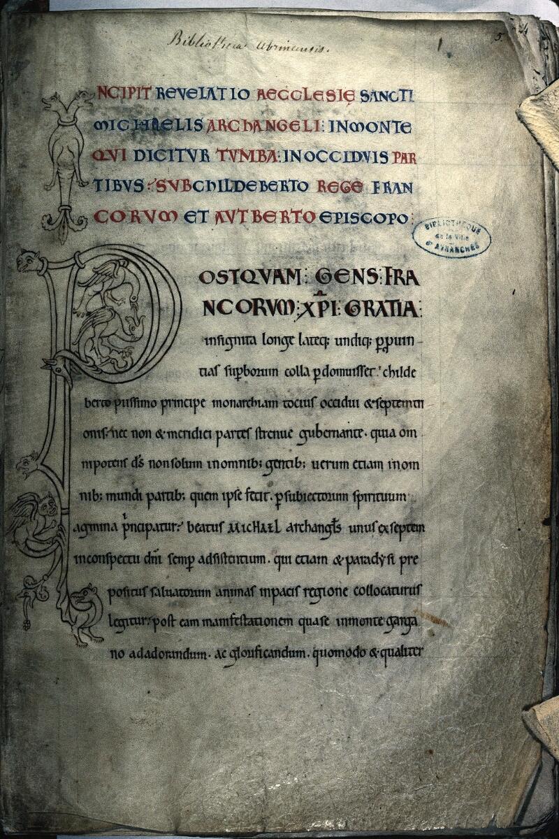 Avranches, Bibl. mun., ms. 0210, f. 005 - vue 1