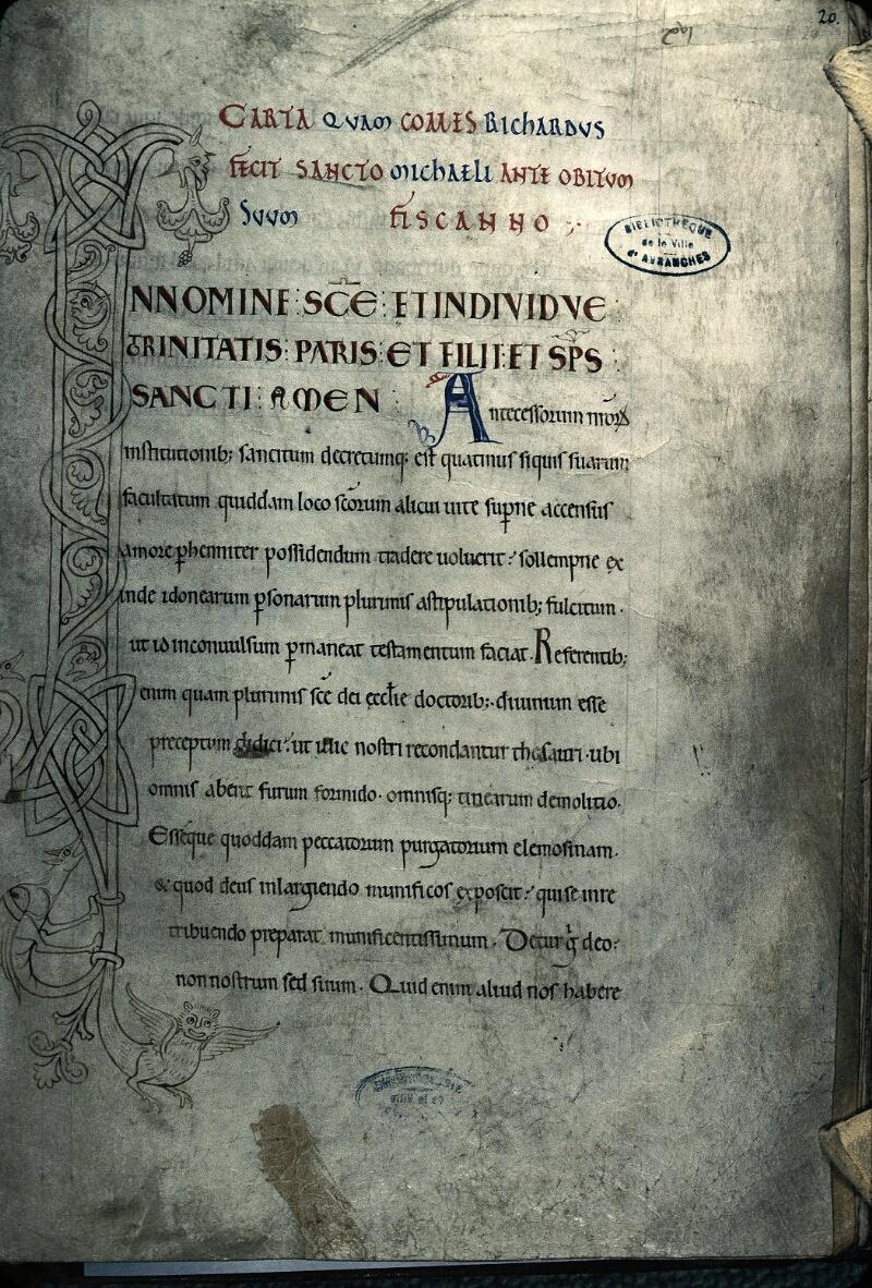 Avranches, Bibl. mun., ms. 0210, f. 020 - vue 1