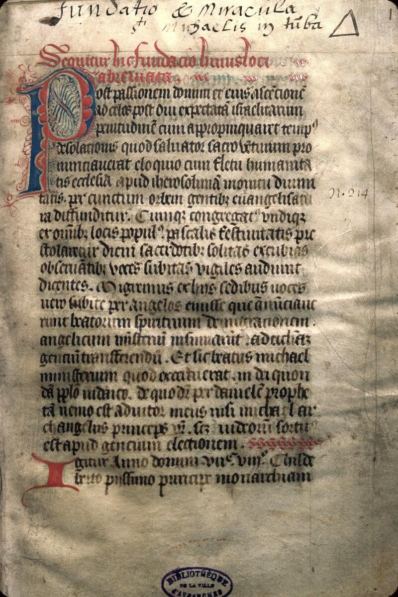 Avranches, Bibl. mun., ms. 0212, f. 001
