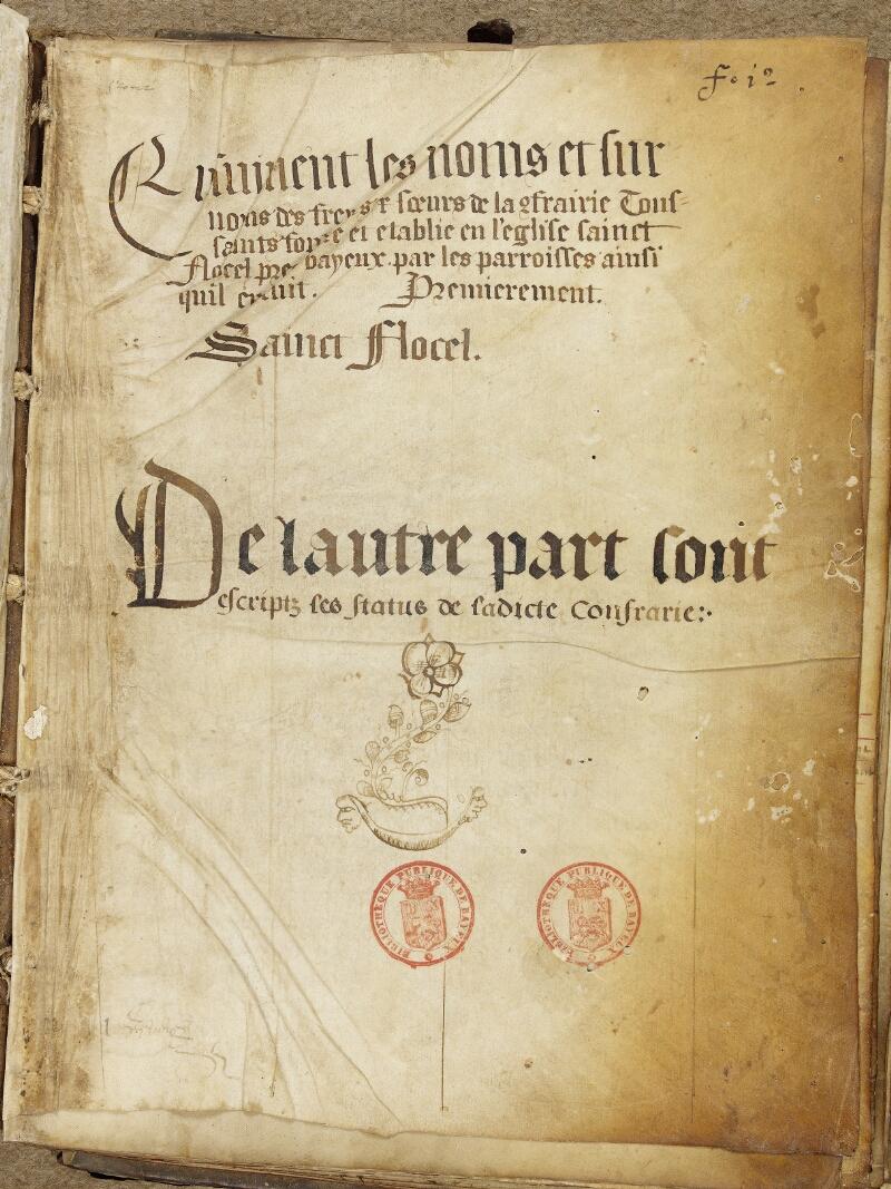 Bayeux, Bibl. mun., ms. 0005, A f. 001 - vue 2