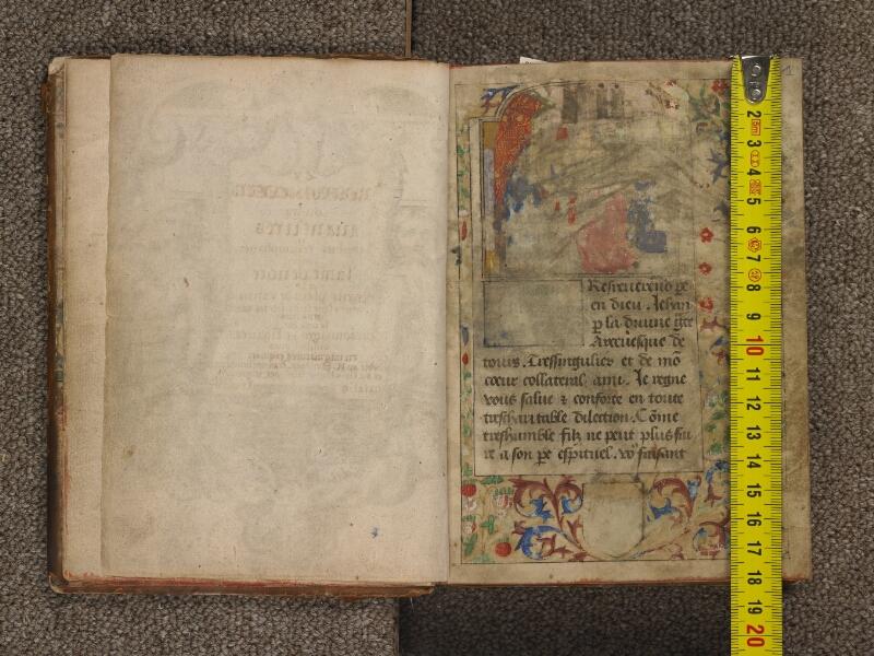 TOURNAI, Bibliothèque du Séminaire, 042, garde verso - f. 001 avec réglet