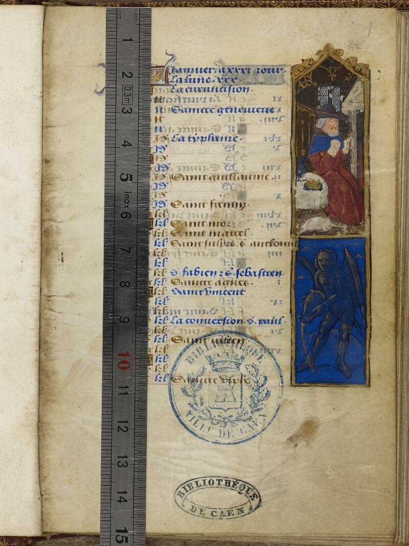 Caen, Bibl. mun., ms. 0012, f. 001 - vue 1