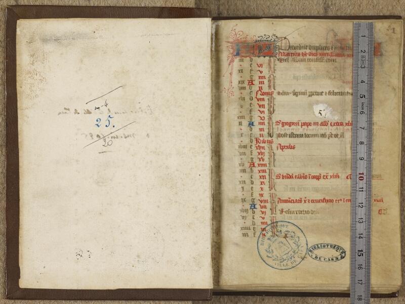 Caen, Bibl. mun., ms. 0020, f. 000Av-A f. 001- vue 1