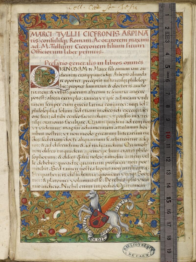 Caen, Bibl. mun., ms. 0181, f. 001- vue 1