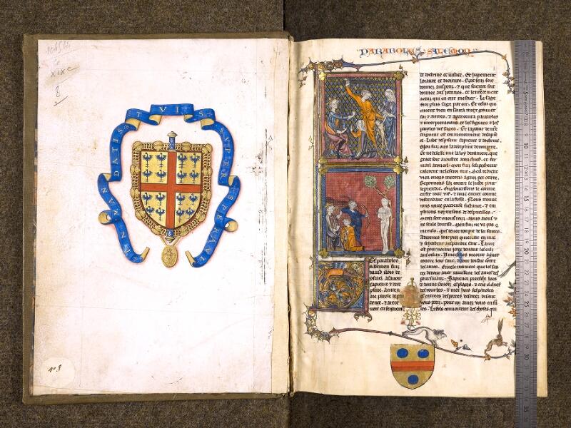 CHANTILLY, Bibliothèque du château, 0005 (1045 bis), contregarde - f. 001v avec réglet