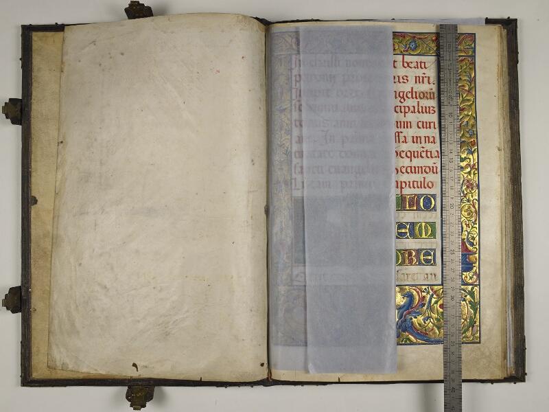 CHANTILLY, Bibliothèque du château, 0018 (1410), contregarde - f. 001v avec réglet