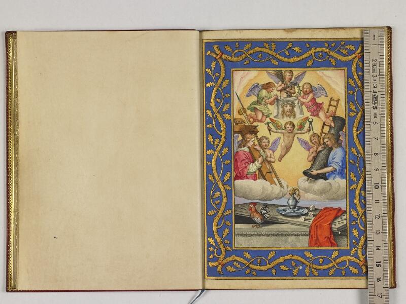 CHANTILLY, Bibliothèque du château, 0039 (1601), contregarde - f. 001v avec réglet