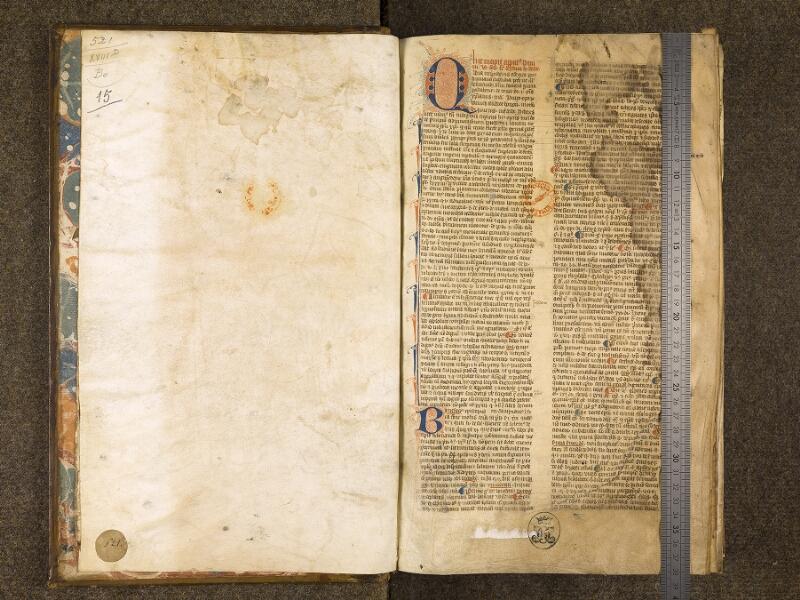 CHANTILLY, Bibliothèque du château, 0217 (0521), contregarde - f. 001 avec réglet
