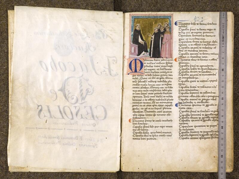 CHANTILLY, Bibliothèque du château, 0286 (1075), f. 001v - 002 avec réglet