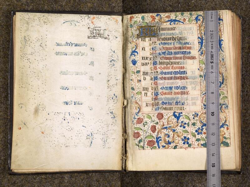CHANTILLY, Bibliothèque du château, 1480 (1966), contregarde - f. 001 avec réglet