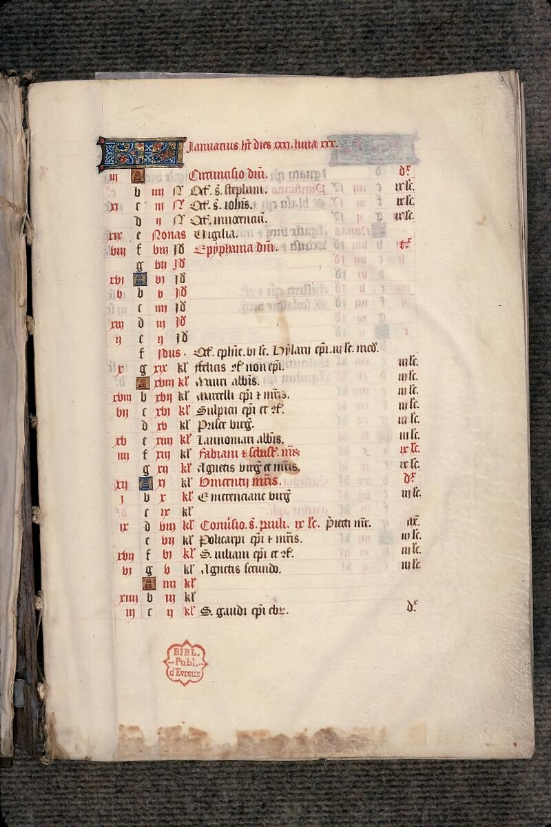 Evreux, Bibl. mun., ms. lat. 098, f. 001 - vue 2