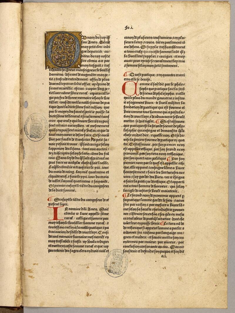 Abbeville, Bibl. mun., inc. 001, f. 001 - vue 2