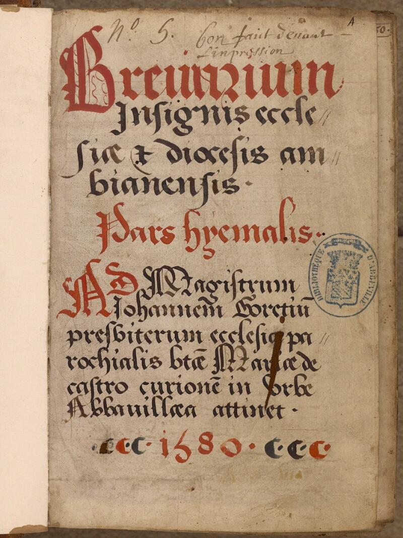 Abbeville, Bibl. mun., ms. 0010, A f. 001 - vue 2