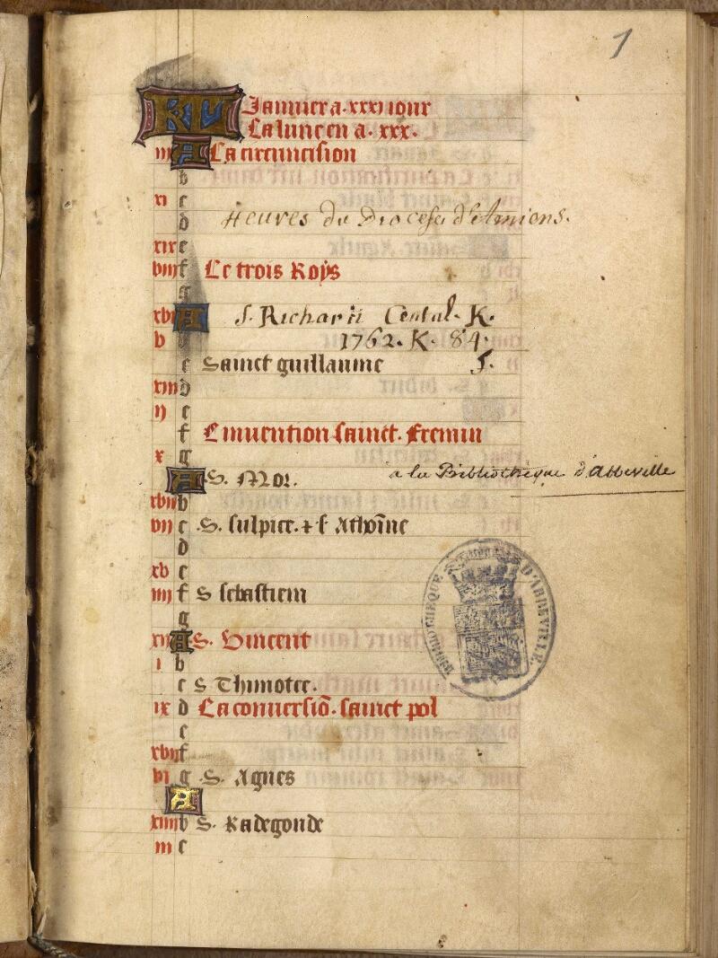 Abbeville, Bibl. mun., ms. 0014, f. 001 - vue 2